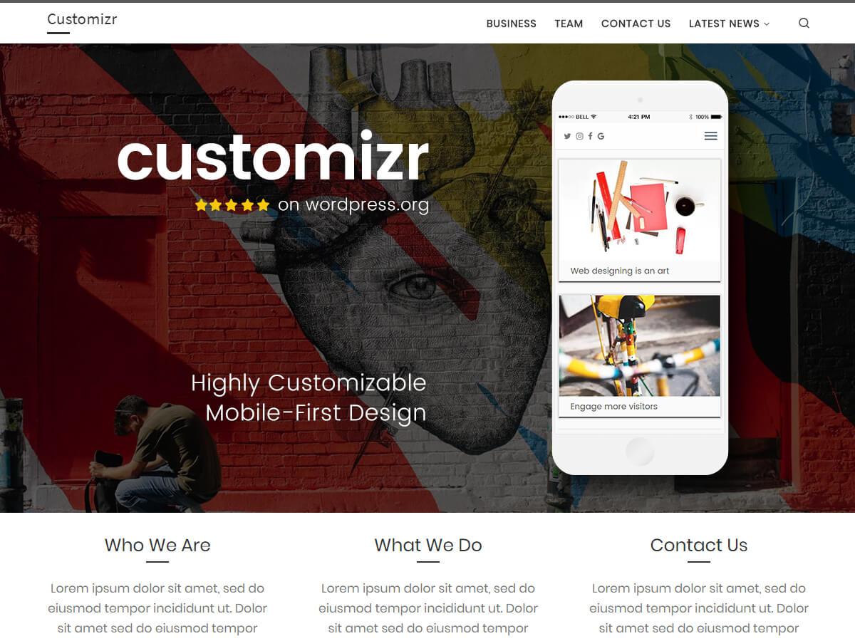 Customizr es un tema adaptable, sencillo y elegante