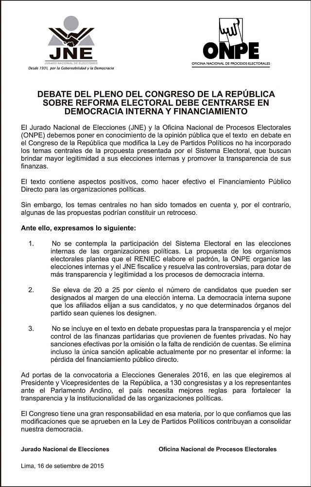Comunicado de la ONPE y el JNE alertando sobre problemas del dictamen.