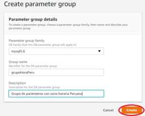 Nuevo grupo de parámetros