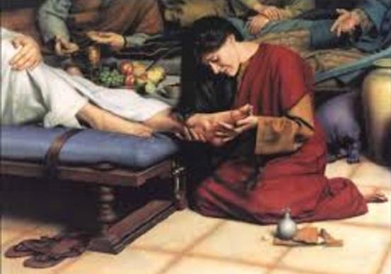 Mujer pecadora unge pies a Jesus krouillong comunion en la mano es sacrilegio