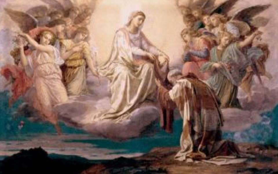 san simon stock nuestra señora del monte carmelo virgen del carmen santo escapulario krouillong comunion en la mano