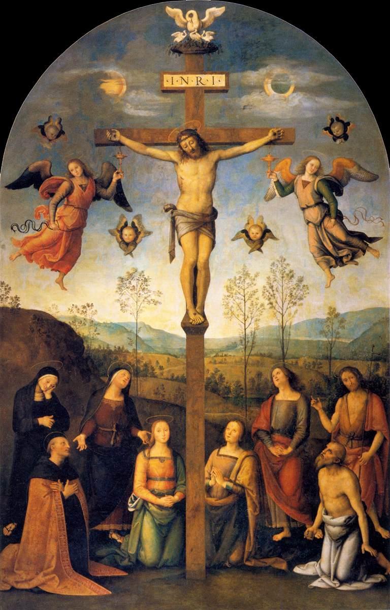 Cristo crucificado Pietro Perugino krouillong comunion en la mano es sacrilegio