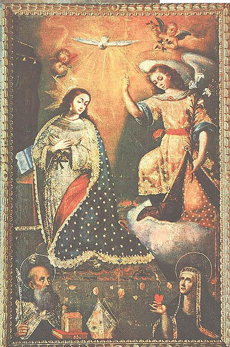 Anunciacion El Angelus krouillong comunion en la mano es sacrilegio Escuela Cuzqueña