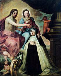 Santa María Magdalena de Pazzi krouillong comunion en la mano benditas almas del purgatorio