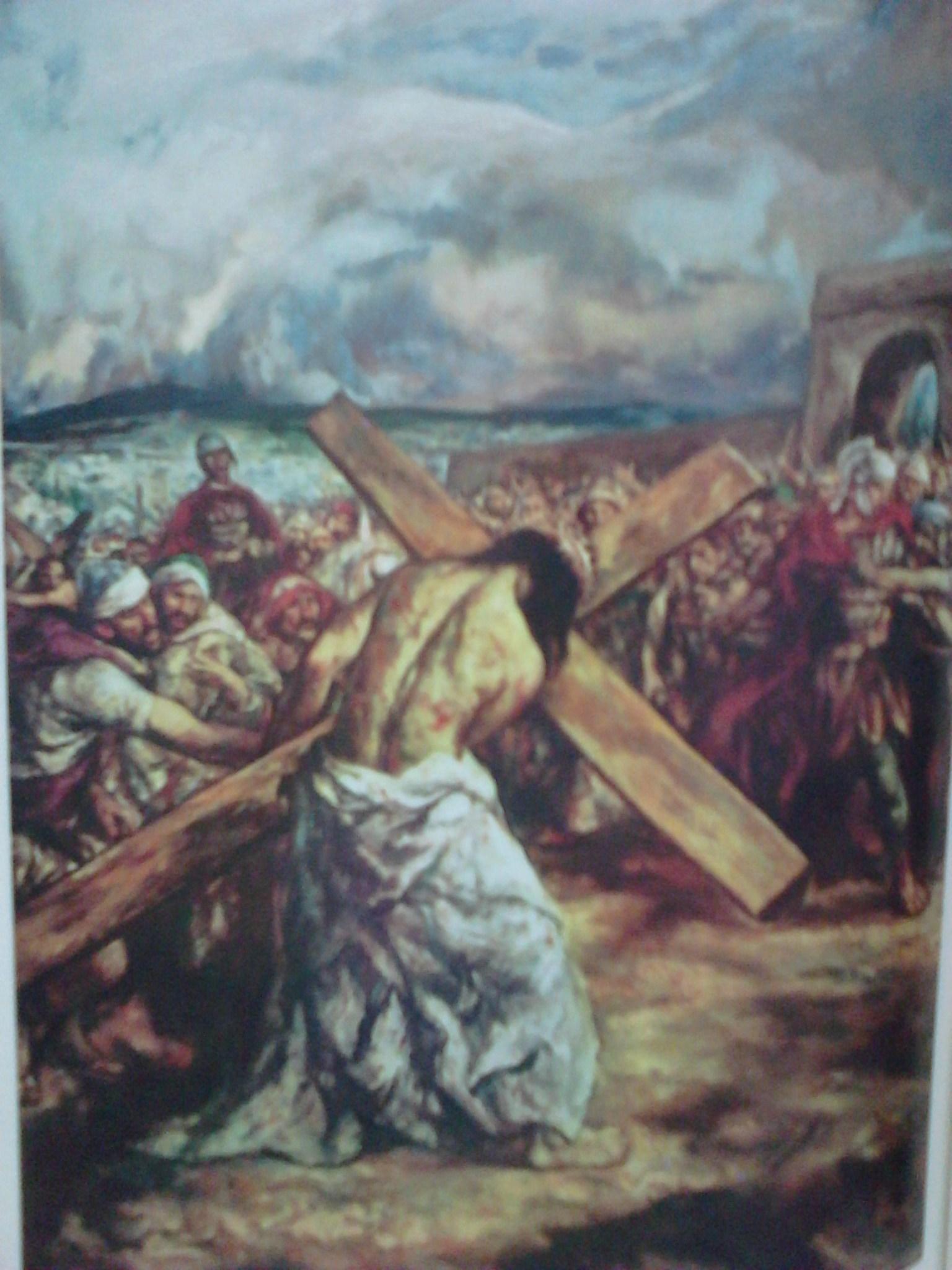 jJesús carga con la cruz acuestas krouillong comunion en la mano