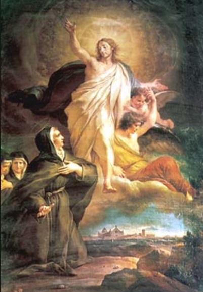 Beata Angela de Foligno krouillong comunion en la mano sacrilegio