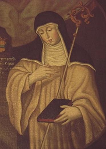 Santa Matilde de Hackeborn krouillong comunion en la mano sacrilegio