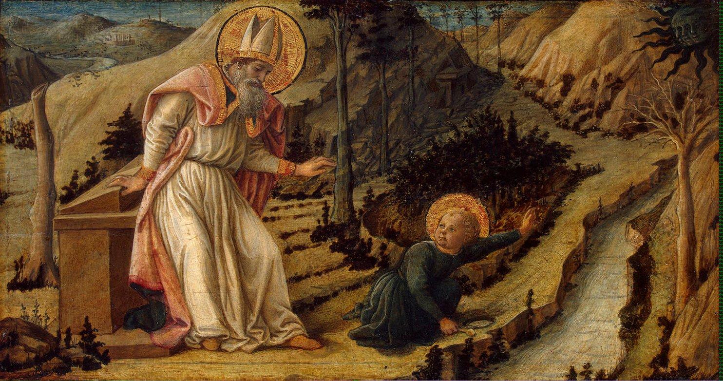 san agustin y el niño en la playa krouillong comunion en la mano sacrilegio