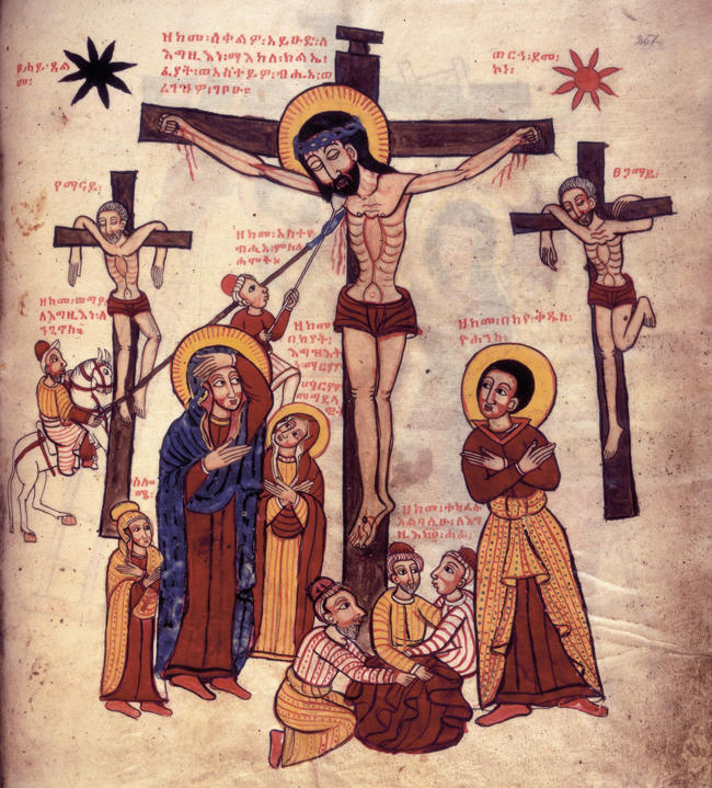 Jesus crucificado Crucifixion Martirio Etiope 1756 Mural de Iglesia Africana krouillong comunion en la mano sacrilegio