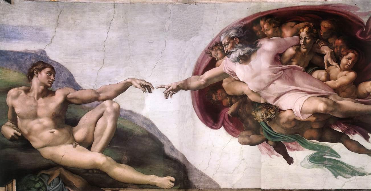 La Creacion de Adan Miguel Angel krouillong comunion en la mano sacrilegio
