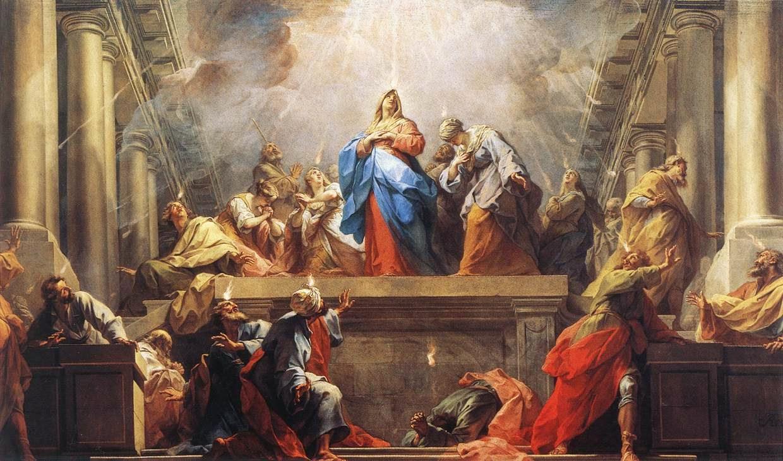 Pentecostes Virgen Maria y Apostoles krouillong comunion en la mano sacrilegio