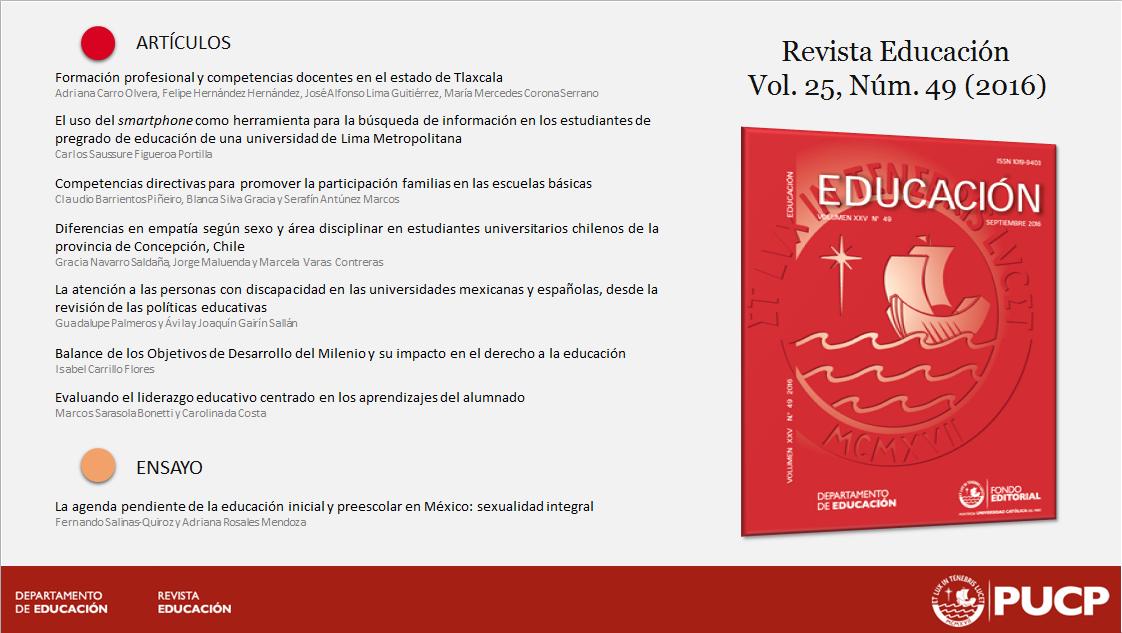 Ultimo número revista educación-PUCP