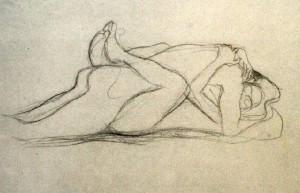 Gustave Klimt,Los amantes del circo, dibujo