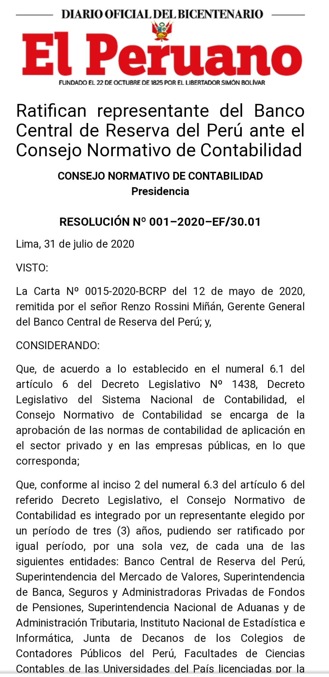 Ratifican representante del Banco Central de Reserva del Perú ante el Consejo Normativo de Contabilidad
