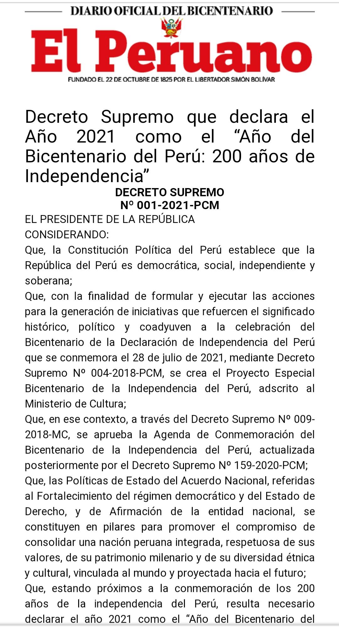 """Declaran el Año 2021 como el """"Año del Bicentenario del Perú: 200 años de Independencia"""""""