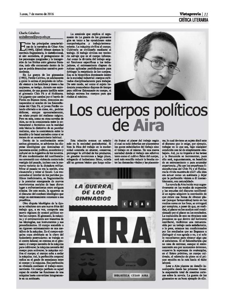 Los cuerpos políticos de Aira