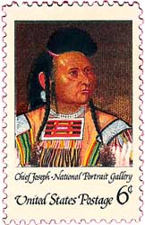 Reproduction of Chief Joseph's portrait on a 1968 stamp