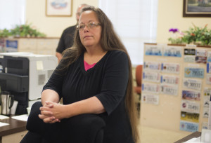 Kim Davis, the clerk of Rowan County in Kentucky, after refusing to grant a marriage certificate to Robbie Blankenship and Jesse Cruz on Wednesday. Credit Ty Wright/Getty Images