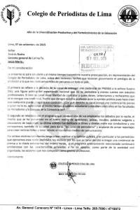 Comunicado del Colegio de Periodistas del Perú
