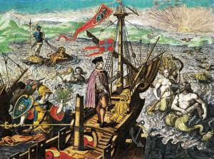 Grabado realizado por Theodor de Bry sobre el segundo viaje de Colón realizado en 1493. Imagen: estaticos03.elmundo