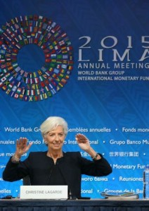 La directora gerente del Fondo Monetario Internacional, Christine Lagarde, durante la rueda de prensa en Lima / ERNESTO ARIAS (EFE)