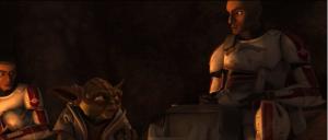 """Yoda: Quítense los cascos, sus rostros dese over. Thire: No hay mucho que ver, señor. Todos tenemos el mismo rostro. Sus ojos los engañan. En la fuerza muy diferentes ustedes son. Diálogo del maestro Yoda con los clones Rys, Jjeck y Thire (""""Ambush"""" The Clone Wars, ep.1 temporada 1)."""