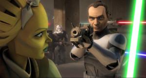 """Momento en que el soldado clon Tup, amigo de Fives, asesina a una Jedi debido a un malfuncionamiento del chip implantado que contenía la """"Orden 66"""""""