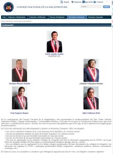 Consejeros CNM. Página web del Consejo Nacional de la Magistratura