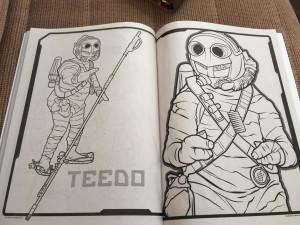 Otros personajes: Teedo quien tendrá a BB8 en sus redes. Imagen en: http://youbentmywookie.com/wookie/gallery/0815_star-wars-the-force-awakens-coloring-book/star%20wars%20the%20force%20awakens%20coloring%20book_2.JPG