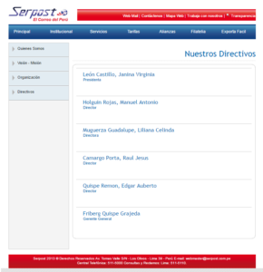 Directivos Serpost. En: Página web al 20-09-2016