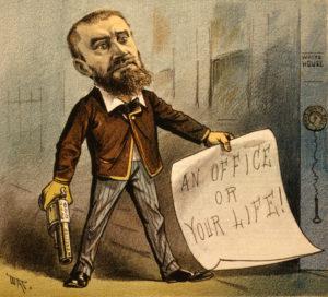 Charles J. Guiteau, asesino del vigésimo presidente de los Estados Unidos, James Garfield. Lo asesinó al no obtener respuesta sobre su nombramiento para un puesto diplomático en el extranjero.