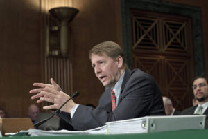 Consumer Financial Protection Bureau Director Richard Cordray testifies on Capitol Hill in January. J. Scott Applewhite/AP
