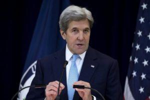 El secretario de Estado, John Kerry, durante su discurso de hoy en Washington. SHAWN THEW EFE