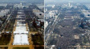La posesión de Donald Trump este viernes (izq.) y la de Barack Obama en 2009 (der.). Ambas imágenes fueron tomadas desde el obelisco que se conoce como el monumento a Washington.