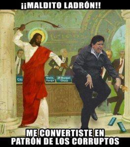 Alan recibe latigazos de por parte de Jesús por ponerlo como imagen de la corrupción en el Morro Solar de Chorrillos. Gracias ODEBRECHT.