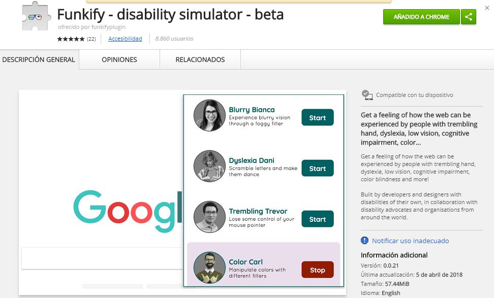 Funkify - disability simulator - beta