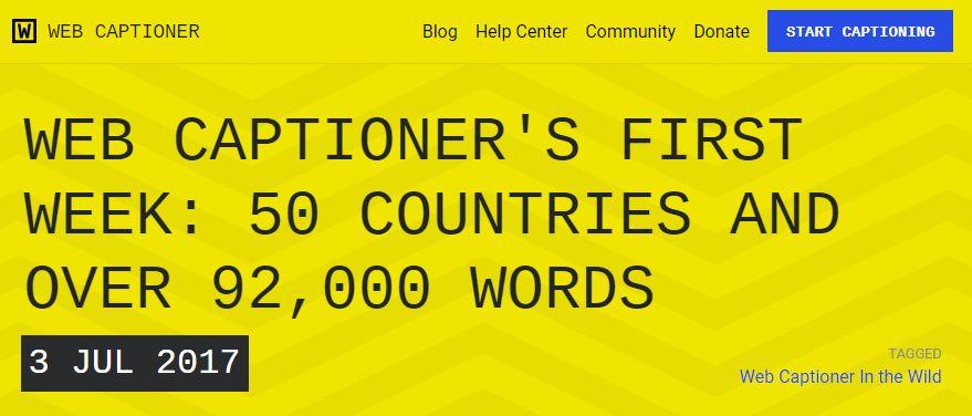 imágen del front de la web de webcaptioner.com