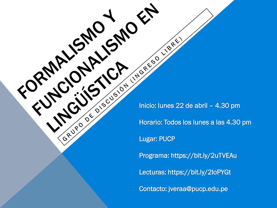 """Grupo de lectura: """"Formalismo y funcionalismo en Lingüística"""""""