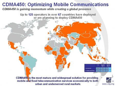 Operadores de CDMA450 a nivel mundial