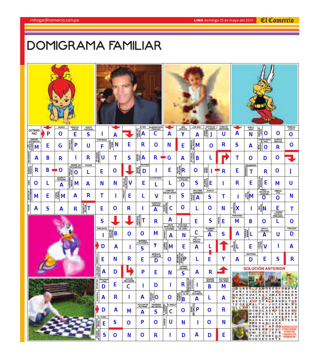 Solución del Dominigrama Familiar del domingo 15 de mayo del 2011