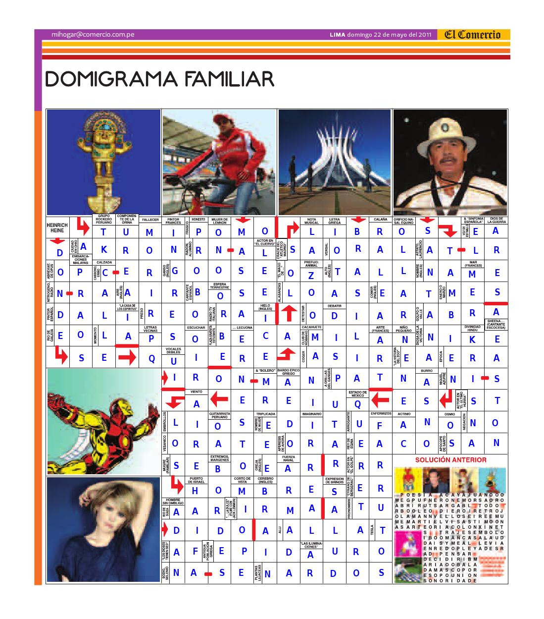Solución del Dominigrama Familiar del domingo 22 de mayo del 2011