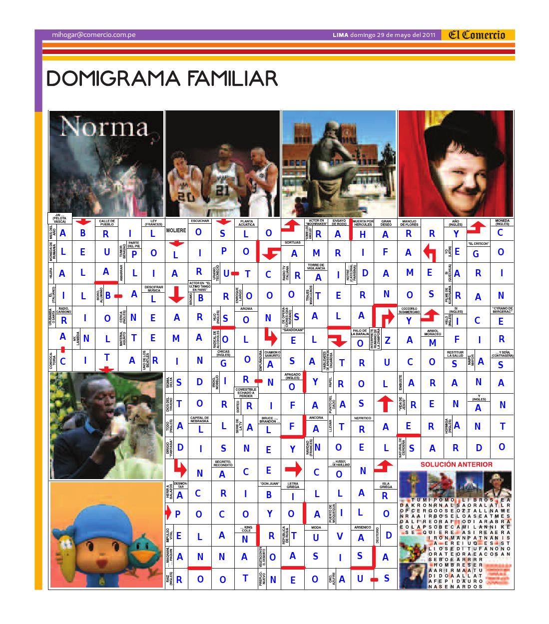 Solución del Dominigrama Familiar del domingo 28 de mayo del 2011