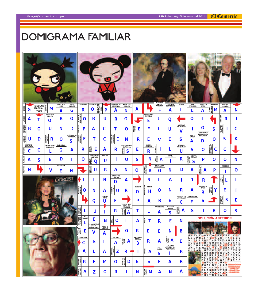Solución del Dominigrama Familiar del domingo 5 de junio del 2011