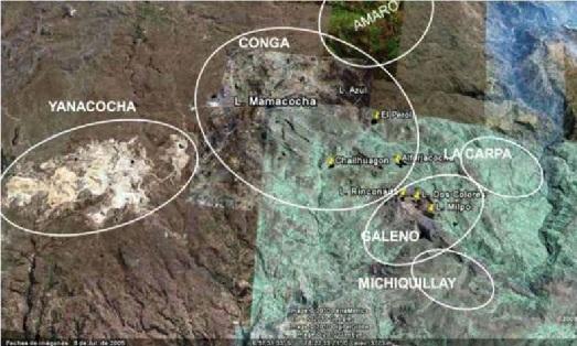 Mapa con la ubicación de los proyectos Conga, Galeno y Michiquillay