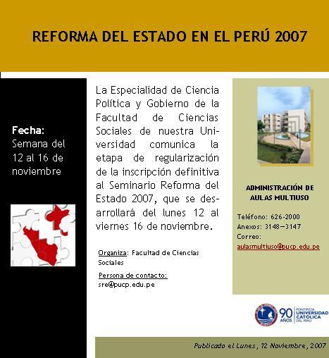 Reforma del Estado en el Perú 2007