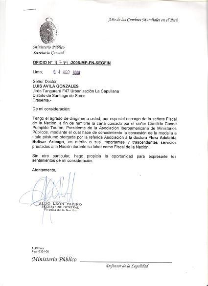Oficio Fiscalía de la Nación