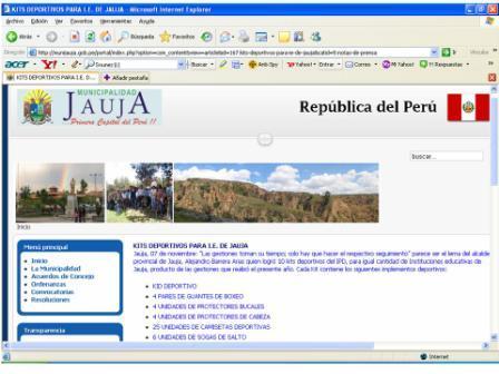 Pagina Web de la Municipalidad de Jauja