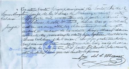 Acta de defunción de Leonor en la Parroquia de Jauja