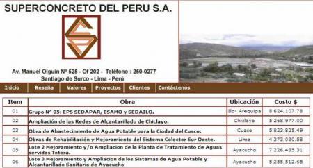 Obras realizadas por Superconcreto del Perú