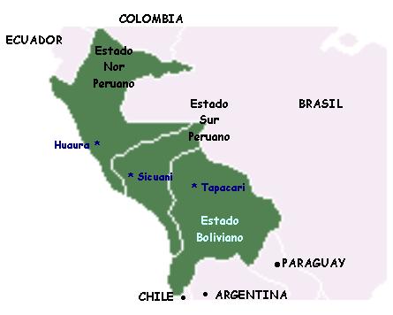 Mapa de la Confederación Perú Boliviana